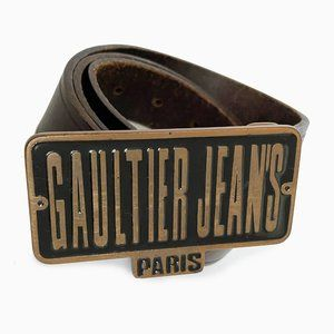 Jean Paul Gaultier Belt Leather Large Logo Buckle